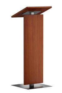 Stijlvol spreekgestoelte in hout met RVS frame. Dit creëert de slanke vorm. Puur zonder opsmuk.  Stylish lectern in wood with stainless steel frame. This creates its slim design. Pure and straight forward.  Stilvolles Rednerpult in Holz mit einem Gestell aus Edelstahl gefertigt. Gerade dies ersteltt die schlanke Linie. Edel und gradlinig.