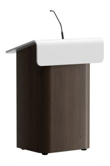 Kraftvolle runde Linien sind ein beeindruckendes Design in diesem modernen Holzpult aus der Kollektion von Villa ProCtrl.  Powerful round counters are a striking design in this modern wooden lectern from the collection by Villa ProCtrl.   Krachtige ronde lijnen zijn een opvallend design in dit moderne houten spreekgestoelte uit de collectie van Villa ProCtrl.