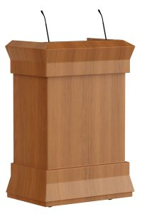 Klassiek elegant spreekgestoelte in hout. Kan ook uitgevoerd worden als maître d'station voor in de horeca  Classic and elegant lectern in wood. Can also be executed as maitre d station for hospitality industry.  Klassisches elegantes Rednerpult in Holz. Kann auch ausgeführt werden als Maître d'Station im Gastgewerbe.