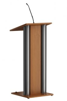 Stijlvol houten spreekgestoelte met moderne look. Twee RVS staanders geven extra touch aan de uitstraling. U kunt het spreekgestoelte eenvoudig verplaatsen op de twee wielen aan de sprekerszijde.  Stylish wooden lectern with a modern look. Two stainless steel pillars give it an extra decorational touch. The lectern is easy to move on the two wheels on the speakers side.  Stilvoll hölzernes Rednerpult mit modernem Look. Zwei Edelstahlsteuersäulen verleihen das Aussehen einen zusätzlichen Designakzent. Das Rednerpult ist sehr einfach auf seinen zwei Rädern, an der Seite des Sprechers, zu verschieben.