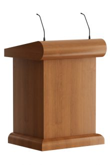 Classic wooden lectern with modern solutions. For protection the wood is sprayed. Available as maitre d station for hospitality industry with lockable doors and drawer. You can choose 1 or 2 shock mount(s) for the microphone(s).