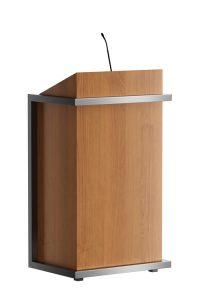 Spreekgestoelte van hout met een RVS buitenframe. Als accessoires kunnen verlichting, microfoon en dergelijke geïntegreerd worden.  Lectern made of wood with a stainless steel outer frame. Accessories such as lightning, microphone and suchlike can be integrated.   Rednerpult aus Holz mit einem Edelstahlrahmen. Zubehör wie Leseleuchte, Mikrofon und dergleichen können integriert werden.